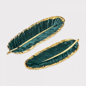 Emerald Feather Tray Set