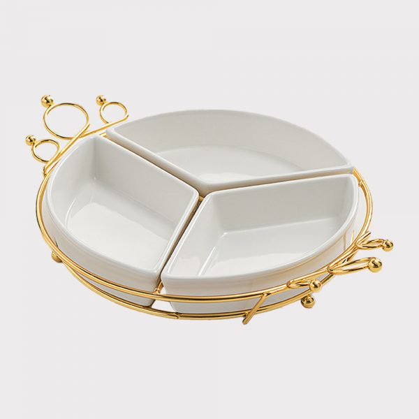 home accessories 3 grid fruit plate(White)