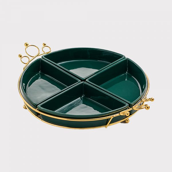 home accessories 4 grid Fruit plate(Green)