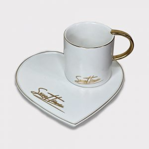 Heart shaped saucer with cup
