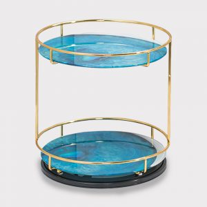 home accessories Double layer Circular shelf (Blue)